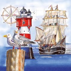 A paper napkin for decoupage of beautiful ocean view, ships and a lighthouse.   Great for your decoupage projects.