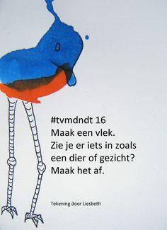#tvmdndt 16 Maak een vlek. Zie je er iets in zoals een dier of gezicht? Maak het af. Tekenles Tekencursus tekenen