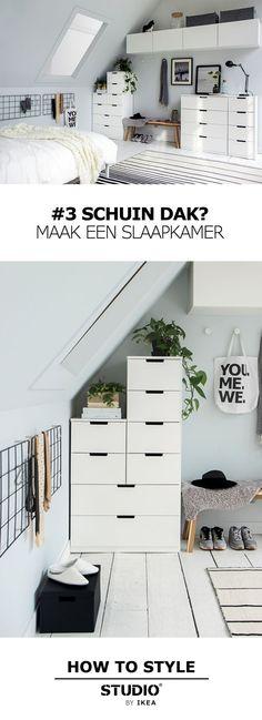 STUDIO by IKEA - Schuin dak? Maak een slaapkamer | #STUDIObyIKEA #HowToStyle #IKEA #IKEAnl #slaapkamer #schuindak #zolder Licht blauw/groen met mat zwart