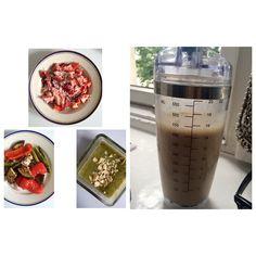 Detox day 1 22.06 poniedziałek  I - 11:30 Woda cytryna Truskawki z wiórkami kokosowymi Napar mięta rumianek imbir II - pomidor z cytrynową oliwą z oliwek III - 15:20 Pieczone warzywa: papryka, bakłażan, szparagi, cebula czerwona, czosnek, szczypiorek Napar z grejpfruta, jabłka, cytryny, imbiru IV - 17:50 Krem z cukinii, selera, pietruszki z migdałami, siemieniem lnianym (odrobinę soli) V - 21:20 Koktajl z bananam, jablka, mleka sojowego i lnu mielonego + melisa  Power Combo