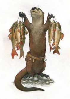 An otter, very proud of his trout and redhorse haul! Each print has been titled and signed on the back. For the option, the actual printed image measures and is printed centered on paper. I can trim it down to if you like- just leave me a note. Furry Art, Fantasy Creatures, Mythical Creatures, Arte Cyberpunk, Art Et Illustration, Otters, Oeuvre D'art, Fantasy Characters, Dungeons And Dragons