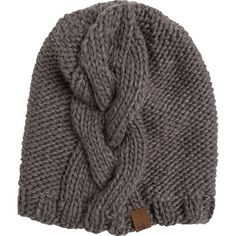 Volcom Silver Cable Beanie ($32) ❤ liked on Polyvore featuring accessories, hats, grey, oversized beanie, volcom hat, beanie hats, oversized hat and grey beanie