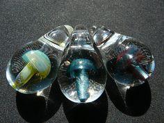 Boro Glass Mushroom Sparkle Pendants Focal by MajesticGlassArts