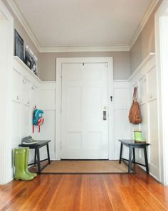 Use 1x6 boards and paint, and you'll have a paneled wall effect.
