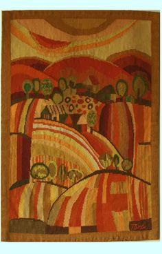 Tana Sachs -- Autumn at the wheat fields, 85 x 125 cm, Wool - Cotton hand woven