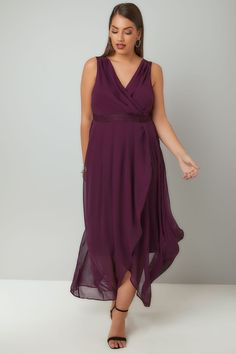 Purple Chiffon Maxi Dress With Wrap Front & Lace Details