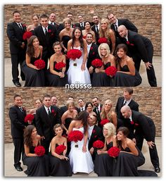 Fun wedding party portrait with bride and groom in front of stone wall at Bear Creek Mountain Resort, Macungie, PA. Theme color is beautifully coordinated red flowers, black tux and black gown for bridesmaids. Wedding Pics, Wedding Themes, Wedding Colors, Dream Wedding, Wedding Day, Wedding Dress, Trendy Wedding, Party Wedding, Wedding Bouquets