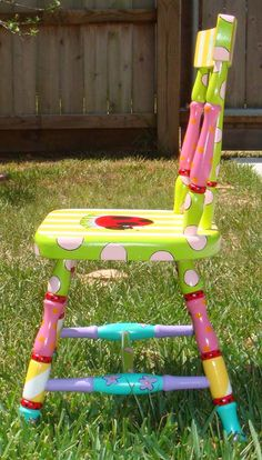 Hand Painted Childrens Table And Chairs Hand Painted Chairs, Whimsical Painted Furniture, Hand Painted Furniture, Funky Furniture, Colorful Furniture, Paint Furniture, Repurposed Furniture, Furniture Projects, Kids Furniture