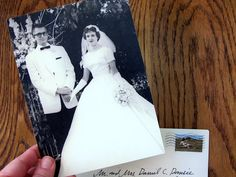 Anniversary Party Invitation - use the couple's wedding photo with info on back. Such a sweet idea.