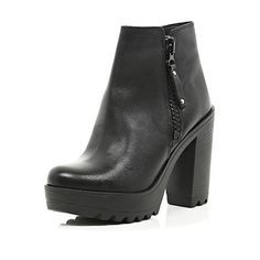 Black cleated sole block heel ankle boots - ankle boots - shoes / boots - women