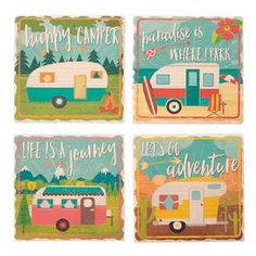 camping gifts rv - Highland Graphics 4 Pc Set of Square Stone Coasters - Happy Campers *** Click image for more details. (This is an affiliate link) Camping Rules, Camping Checklist, Go Camping, Camping Hacks, Camping 2017, Vacation Checklist, Camping Packing, Rv Hacks, Luxury Camping