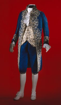 Court suit, late 18th–early 19th century  French  Blue patterned velvet embroidered in gold and silver metallic threads, blue and white silk threads