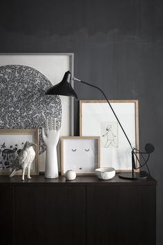 dark walls + light art vignette shot by romain ricard for elle decoration // via coco+kelley