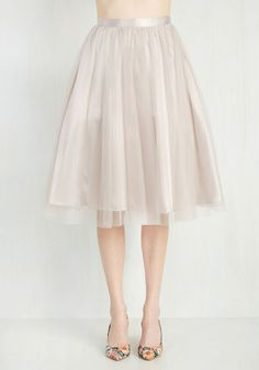 Pointe of View Skirt in Latte. Express yourself with graceful flair in this whimsical tan skirt. #cream #modcloth