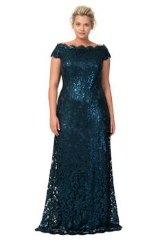 Paillette Embroidered Lace Gown in Starry Night