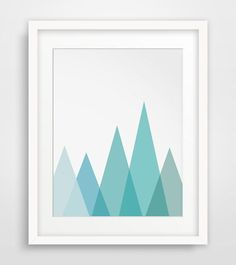 Mountain Print, Sky Blue, Geometric Mountain Wall Art, Geometric Triangle Print, Blue Artwork - $5