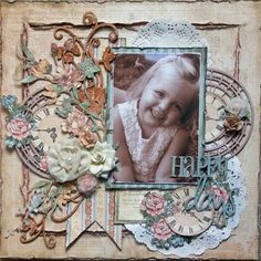 "Love this Layout for **Imaginarium Designs** ""Happy Days"" by Shell Carman! Wow! Gorgeous! #graphic45 #layouts"
