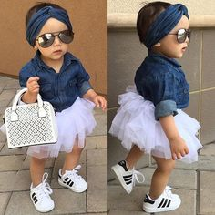 Let your Baby Girl stand out in this ~ Baby Girls Denim Shirt Top ~ Tutu Skirts ~ Headband ~ Outfits Sets ~ Cute Baby Girl Outfits, Cute Baby Clothes, Toddler Outfits, Baby Girl Tutu, Baby Dress, Baby Girl Fashion, Kids Fashion, Babies Fashion, Fashion Games