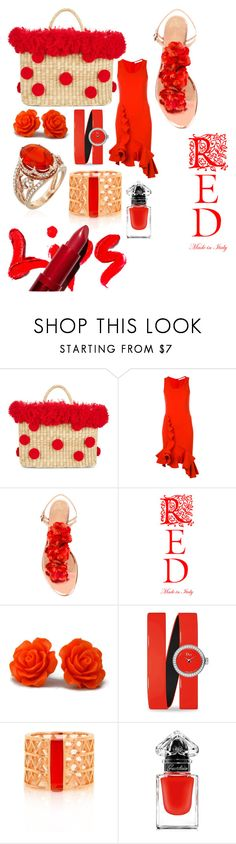 """Straw Bag in Red"" by giulia-ostara-re ❤ liked on Polyvore featuring Nannacay, Givenchy, Charlotte Olympia, Christian Dior, Alexandra Alberta and Guerlain"