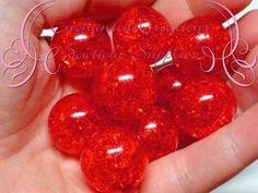 Add a bit of texture to your chunky creations with these vibrant colored beads! Only the best quality from Enchanted Creations Bowtique Supplies!  These Beads are:  ❤ Color: Red ❤ Quantity: 10 ❤ Size: 20mm ❤ Shape: Round ❤ Style: Acrylic Crackle Beads ❤ Hole: 2mm ❤ Material: Resin/Plastic  These beads are sure to add a stunning POP to your creations! Uses include:  ❤ Chunky Necklaces ❤ Chunky Bracelets ❤ Keychains ❤ Zipper Pulls ❤ Earrings ❤ Purse Charms ❤ The Possibilities are Endless…