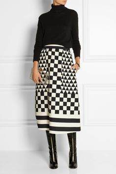 Valentino | Geometric-print wool and silk-blend crepe skirt | NET-A-PORTER.COM