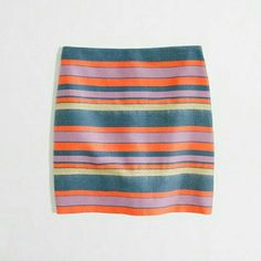 J.Crew Striped Metallic Skirt Such a fun skirt! Great for work or days out. Zips in back J. Crew Skirts