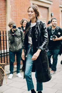 Alexa Chung in patent leather before the J.W.Anderson show at London Fashion Week