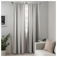 Buy IKEA MAJGULL Block-out curtains, 1 pair, Light Grey. With block-out curtains you won't get your sleep disturbed by moonlight and street lights - or be woken by the sun when you want to sleep in late. Curtains Bedroom, Ikea, Curtains, Curtains Living Room, Grey Curtains, Curtains With Blinds, Block Out Curtains, Farmhouse Curtains, Room Darkening Curtains
