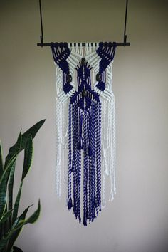Macrame Wall Hanging - Natural White Cotton & Hand Dyed Indigo Blue Rope w…