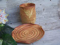 Handmade Pottery Soap dish/Tumbler Set 2pc by ClayRoadStudios, $22.00