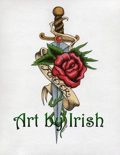 Watercolor Forever Rose & Dagger 8 1/2 x 11 print by ArtbyIrish, $5.00 Blade Tattoo, Knife Tattoo, Sword Tattoo, Dagger Tattoo, Mini Tattoos, Rose Tattoos, Body Art Tattoos, Ed Hardy Designs, Rose And Dagger