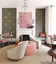 Dr brw fun wall paper, neutral wall, dr wood floor, accent pink..nice for a tween bedroom