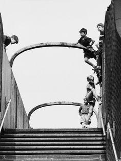 - Boys playing on footbridge, Salford, England, 1964. S)