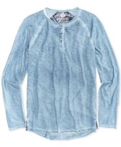 American Rag Men's Raw Edge Spring Henley, Only At Macy's  - Blue XS