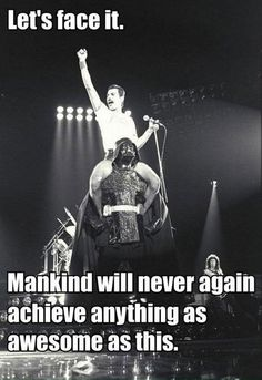 The increasing number of pins with Freddie Mercury in them makes me slightly more optimistic about the future of humanity. Freddie Mercury Riding Darth Vader - Funny memes that Queen Freddie Mercury, Freddie Mercury Quotes, Share Pictures, Funny Pictures, Queen Songs, Freddie Mercury Zitate, Beatles, Funny Videos, Funny Memes
