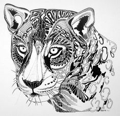 Black & White Jaguar Ink Drawing by TNKoriginals on Etsy