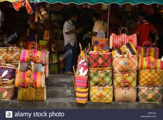 Stall selling wicker handbags in the street market at Port Louis Mauritius Stock Photo
