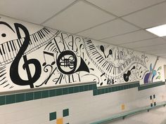 Painting the hallway at my school. Murals always make an elementary school better! School Hallways, School Murals, Music Classroom, Classroom Decor, Future Classroom, Elementary Music, Elementary Schools, Hallway Displays, Zen