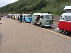 Daisy our VW Campervan (yellow) at the VW Brazi-bay beach day Bournemouth 2014