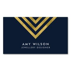 Dark Blue Chic Faux Gold Geometric Design Business Card by Rosewood and Citrus on Zazzle