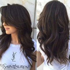 50 Cute and Effortless Long Layered Haircuts with Bangs Layered Cut With Long Side Bangs Layered Haircuts With Bangs, Hairstyles With Bangs, Layered Hairstyles, Long Layered Hair With Side Bangs, Long Bangs, Hairstyle Ideas, Hairstyles 2018, Wedding Hairstyles, Latest Hairstyles