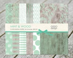 SALE Rustic wood texture and Mint Wood Scrapbook by DesignOzzo