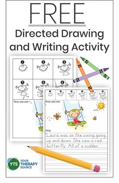 Free Directed Drawing and Writing Activity - Your Therapy Source Preschool Learning, Early Learning, Visual Perceptual Activities, Pediatric Occupational Therapy, Directed Drawing, Drawing Activities, Drawing Step, Handwriting Practice, How To Gain Confidence