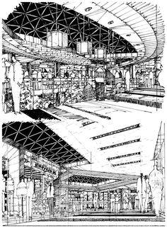 Pin by chun tak chung on vis com эскизный проект, графика, а Conceptual Sketches, Cool Sketches, Drawing Sketches, Sketch Ink, Interior Design Sketches, Sketch Design, Architecture Concept Drawings, Architecture Design, Perspective Sketch