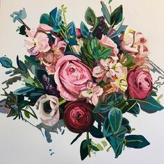 Painting by Kate Mullin Williford. www.katemullinart.com #floral #painting
