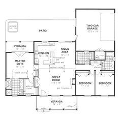 Ranch Style House Plan - 3 Beds 2 Baths 1820 Sq/Ft Plan #18-4512 Floor Plan - Main Floor Plan - Houseplans.com