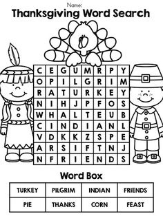 Thanksgiving Word Search >> Part of the Thanksgiving Kindergarten Language Arts Worksheets