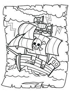 Dibujo de Barco pirata para pintar imprimir y colorear