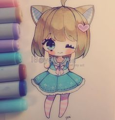 Made a chibi to stick onto my notebook ;v; i'm posting before I trim it because…