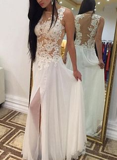 White Wedding Dresses,Backless Wedding Gown,Lace Wedding Gowns,Slit Bridal Dress,2016 Princess Wedding Dress,Beautiful Brides Dress,Chiffon Wedding Gowns For Spring Summer